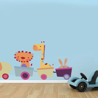 Safari Stuffed Toy Animal Train Vinyl Wall Decal Sticker Reusable Cute Kids Playroom Nursery