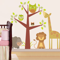 Children Wall Decal Safari tree decal Jungle Animals Decal Giraffe Lion Sheep Nursery Kids Playroom Vinyl Wall Sticker Baby