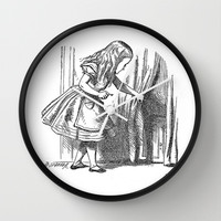 Vintage Alice in Wonderland 'looking for the door' antique book drawing emo goth fantasy gothic Wall Clock by iGallery