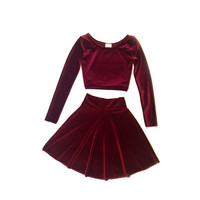 Two-Piece Set Long Sleeve Velvet Dress
