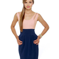 Cute Pink Dress - Blue Dress - Color Block Dress - &amp;#36;37.50