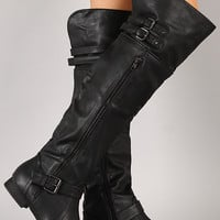 Wild Diva Lounge Tosca-78 Buckle Zipper Thigh High Boot