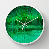 REEDY STEADY GROW Wall Clock by catspaws