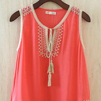 Coral Me A Princess Blouse