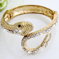 Gold Tone Snake Crystal Rhinestone Bangle Bracelet Cuff CHIC