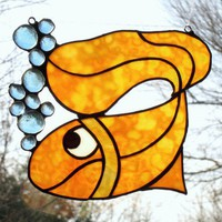 Lucky Gold Fish Stained Glass Suncatcher by FleetingStillness