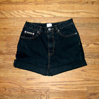 Vintage Denim Cut Offs - 90s Black Jean Shorts by Calvin Klein - High Waisted Cut Off/Frayed/Rolled Up Designer Shorts - Size 1/2