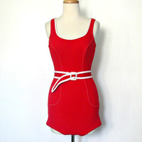 Vintage 1960s Swimsuit / maillot / beach wear / bathing suit / one piece swimsuit / red swimsuit / pin up swimwear / romper / Small