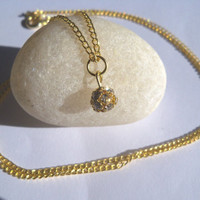 Gold Rhinestone Long Chain Necklace