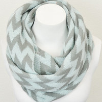 Knit Chevron Infinity Scarf - Mint