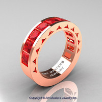 Mens Modern 14K Rose Gold Princess Rubies Channel Cluster Wedding Ring R274-14KRGR