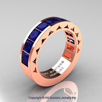 Mens Modern 14K Rose Gold Princess Blue Sapphire Channel Cluster Wedding Ring R274-14KRGBS