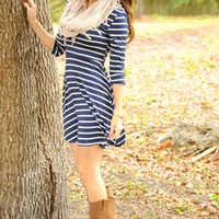Sail Away With Me Dress: Blue/White | Hope's