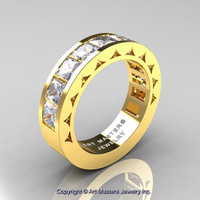 Mens Modern 14K Yellow Gold Princess White Sapphire Channel Cluster Wedding Ring R274-14KYGWS