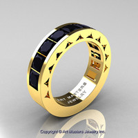 Mens Modern 14K Yellow Gold Princess Black Diamond Channel Cluster Wedding Ring R274-14KYGBD
