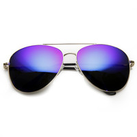 Large Premium Full Metal Revo Mirrored Lens Aviator Sunglasses 1374