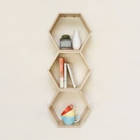 Natural Hexagon Bookshelf