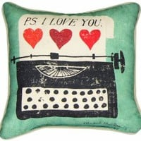 Manual Woodworkers and Weavers Vintage Love Collection Reversible Throw Pillow, 12 by 12-Inch