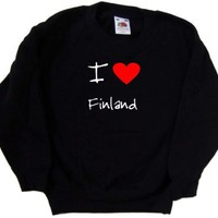 I Love Heart Finland Black Kids Sweatshirt