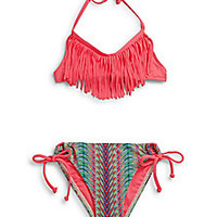 L*Space - Girl's Two-Piece Audrey Printed Fringe Bikini Set - Saks Fifth Avenue Mobile