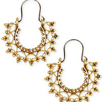 Lucky Brand Earrings, Gold-Tone Filigree Small Hoop Earrings