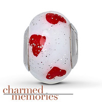 Charmed Memories Murano Glass Heart Charm Sterling Silver