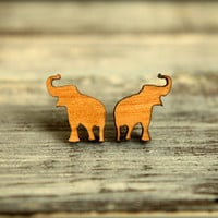 Elephant Silhouette Studs, Laser Cut Wood Earrings