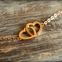 Linked Hearts Necklace in Rose Gold