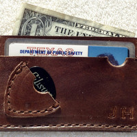 Personalized Leather Guitar Pick/Plectrum ID Wallet ***With Initials or Plain***