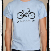 I love my bike french vintage mens shirt silkscreen screenprint Alternative Apparel