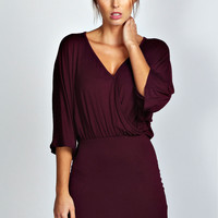 Sophia Wrap Front Batwing Bodycon Dress
