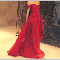 Custom Made Red A line long prom dresses, bridesmaid dresses, red prom dress with cap sleeves, long evening dresses, formal dressses