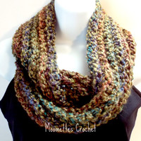 Crochet Chunky Scarf Cowl Neck Warmer Soft Warm Circle Scarf, Infinity Scarf Multicolor Brown Copper Green Handmade