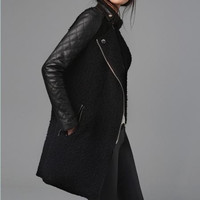 Black woolen thick women coat winter jacket parkas loose casual blouse plus size dust coat windcheater outer coat woolen jacket