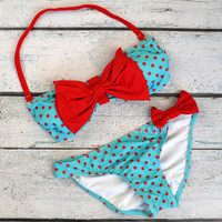 Mary Market Mint Polka Dot Bow Top Bandeau Bikini
