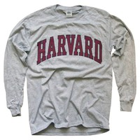 Harvard University T-Shirt, Officially Licensed Long-Sleeve College Athletic Tee, Gray
