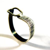 Buckle. minimalist sterling silver ring dark oxidized silver ring silversmith