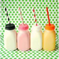 Milk Bottles - ANY COLOR caps with Milk Jugs - Set of 5 - CAPS with Straw Holes & Plastic Milk Bottles - Kids Milk Bottles - Juice Jugs
