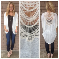 Oatmeal Staci Crochet Back Cardigan