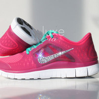 NIKE run free 5.0 Run 3 running shoes w/Swarovski Crystals detail - Pink