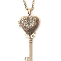 Heart Skeleton Key Locket Necklace Victorian Steampunk NK27 Gold Tone Vintage Statement Pendant Fashion Jewelry
