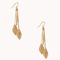 Linear Feather Drop Earrings