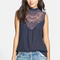 Rubbish® Sleeveless Crocheted Yoke Top (Juniors) | Nordstrom