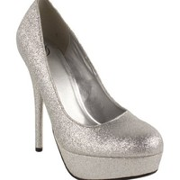 Jones! By Delicious Platform Stiletto High-heel Dress Pumps in Silver Glitter