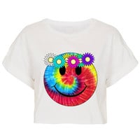 Hippy Flower Child Crop Top Tshirt