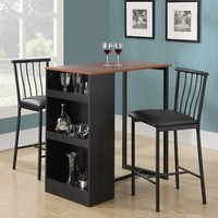 Black 3 Piece Counter Height Dining Home Living Furniture Set Decor Kitchen Apt