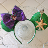 Ariel inspired mouse ears headpiece