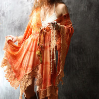 Vintage 1970s Bohemian Hippie Fairy Dress Jacket Dripping Lace Handmade Hand dyed Made To Order