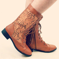 Mayberry Maple Lace Combat Boots
