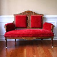 Vintage Eastlake Sofa Antique Settee Love Seat Red Couch Velvet Wood Furniture Bohemian Home Decor Photography Prop Seating Atlanta